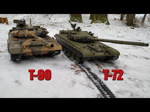 Heng Long T 72 и Heng Long T 90 Тест по Снегу на Пластиковых Гусеницах