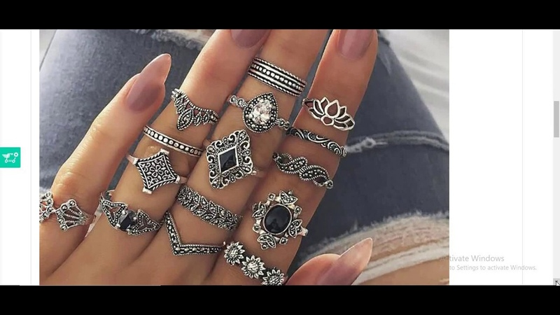 15 Pcs Set Fashion Vintage Ring Set Femme Stone Silver Midi Finger Rings Boho Women Jewelry Knuckle