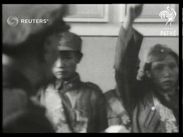 Chiang Kai shek attends Hero's Day celebration in Taipei Taiwan 1951