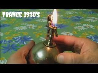 Very old vintage ECLAIR TABLE petrol table lighter Очень старая бензиновая настольная зажигалка