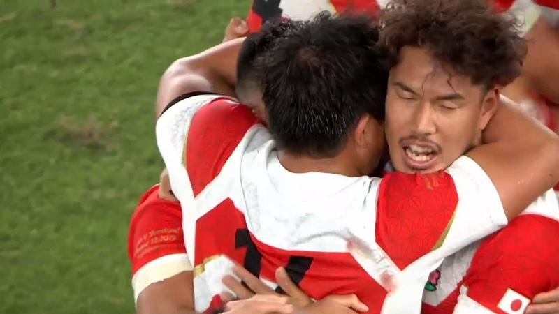 Japan players celebrate historic win