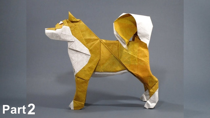 Origami Dog Akita Inu tutorial Satoshi Kamiya part 2 折り紙 イヌ Hachi Hund perro Year of the Dog 2018