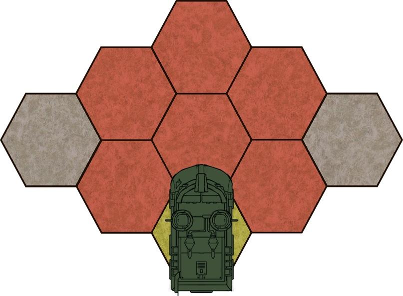Курсовая арка — 3 фронтальных гекса вперёд.