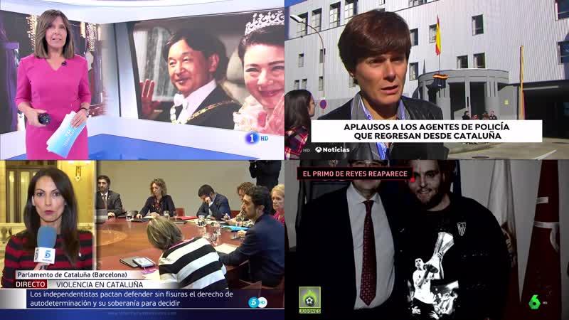 Mosaico 4 canales tv noticias 15h Telediario 1, 3, 5, 6 Jugones 6Mbps OBS 4K Martes 22-10-19 14-58-47