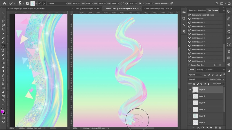 Iridescent Holographic Tutorial 2 How to load use the Wet Mixer Iridescent Photoshop Brushes