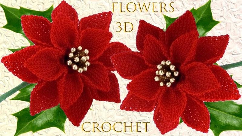 Como hacer flores Nochebuena con tallos a Crochet punto 3D centros de mesa tejido tallermanualperu