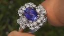 Certified 2.71 carat Bluish Violet Tanzanite and Diamond Cocktail Estate Ring 14k White Gold Vintage