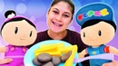 Ayşe Pepee ve Şila için patates köfte ve ayran yapıyor Yemek yapma oyunları