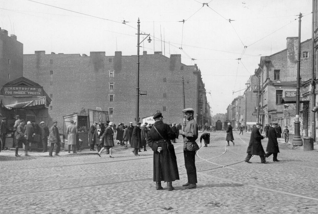 Ленинград. Улица Розы Люксембург (Введенская). Вид от Кронверкского проспекта 1930 год