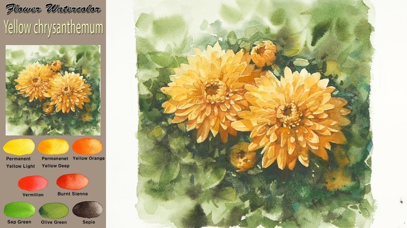 Yellow chrysanthemum Drawing Flower watercolor wet in wet Arches rough NAMIL ART