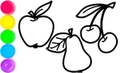 Draw juicy fruits apple pear cherry Coloring for kids