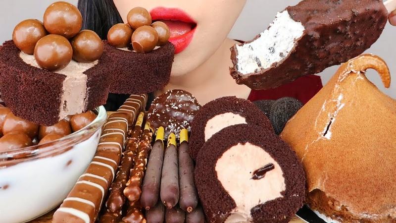 ASMR CHOCOLATE DESSERT MUKBANG *ICE CREAM, CAKE, PEPERO 몰티져스, 아이스크림, 슈케이크, 모찌롤, 빼빼로 먹방
