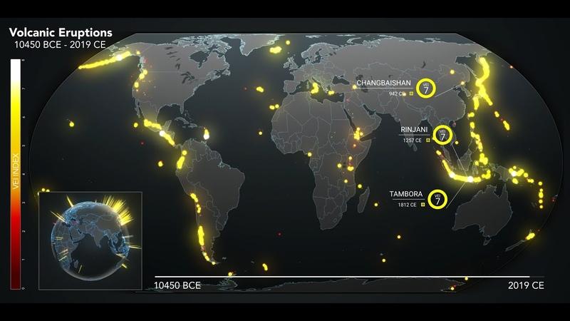 Animated Maps: Ten Thousand Years of Volcanic Eruptions