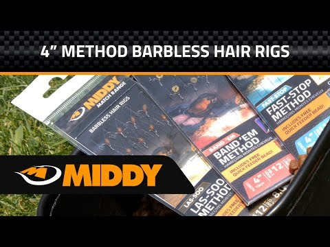 Middy 4 inch Barbless Ready Tied Method Hair Rigs Las soo Band 'Em and Fast Stop