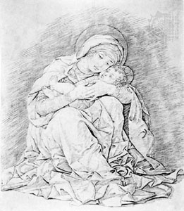 гравюра: гравировка Мадонна с младенцем, гравюра Андреа Мантенья