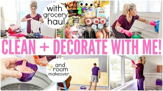 DECORATING + CLEAN WITH ME! GROCERY HAUL AND HOMECHOOL ROOM MAKEOVER ON A BUDGET! | Love Meg