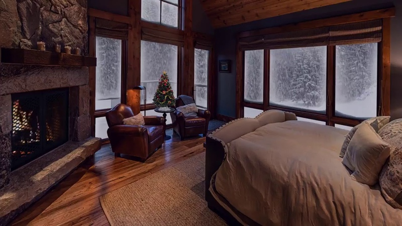 Relaxing Sounds RELAXING ATMOSPHERE WINTER WONDERLAND Beautiful Snow with Fireplace Crackling