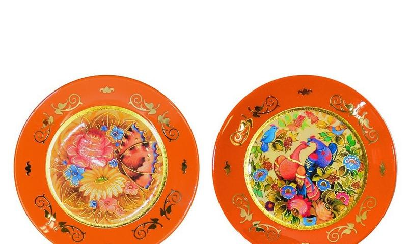 """Набор настенных декоративных тарелок """"Цветы"""", Фабрика лаковой миниатюры РУСЬ"""