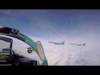 Официальное видео сопровождения американских стратегических бомбардировщиков В-1В в воздушном пространстве Украины истребителями