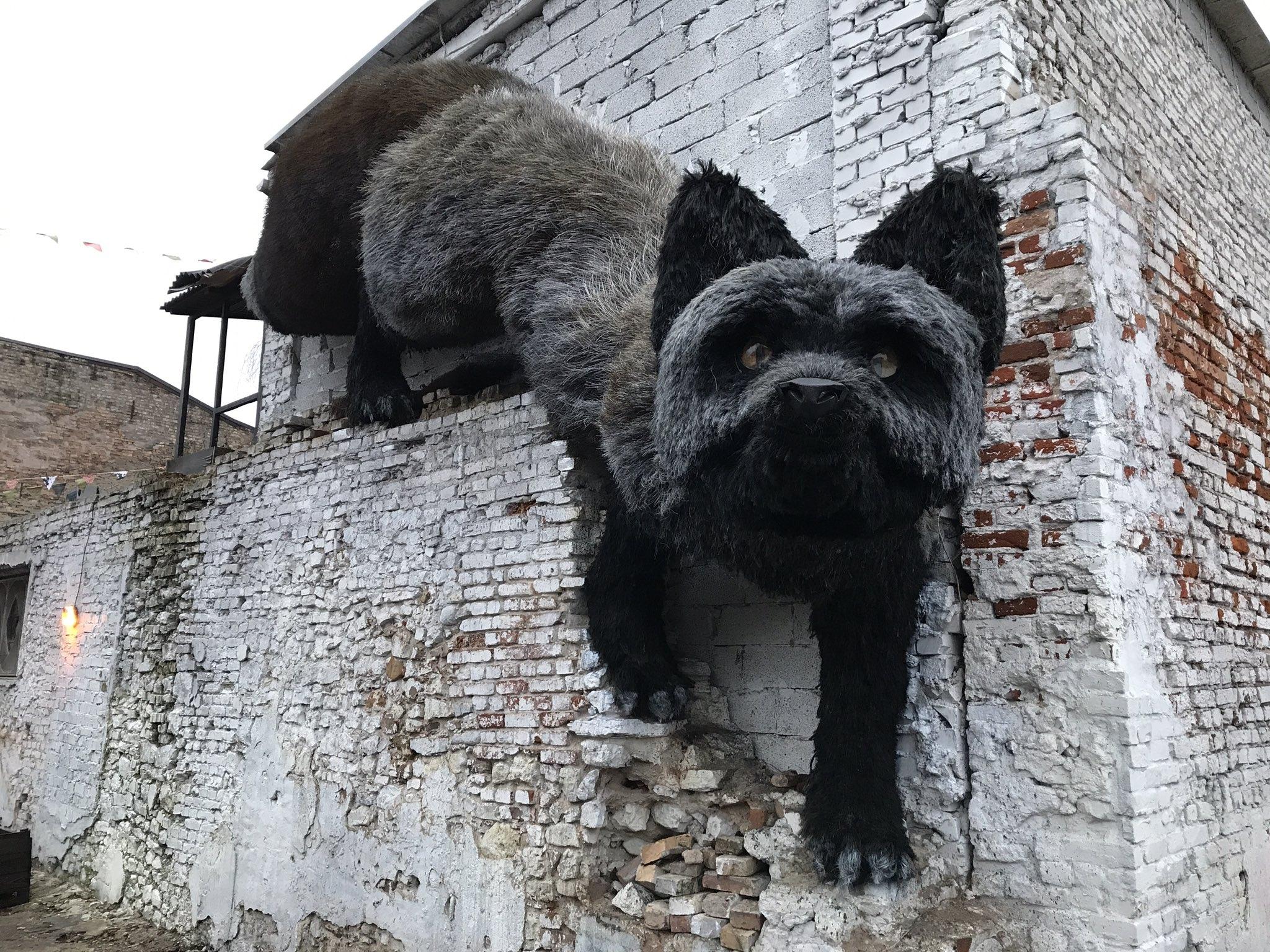 В Риге появилась скульптура огромного черного лиса