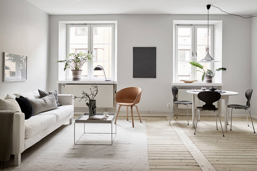 Монохромный интерьер скандинавской квартиры 36 м.