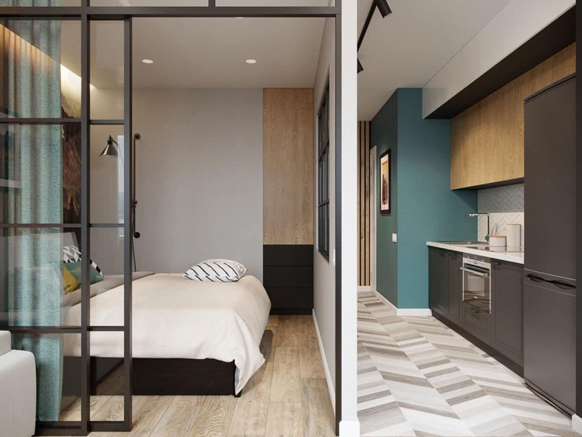 Проект студии 37 м из 1-комнатной квартиры.