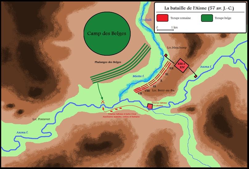 За точность карты ручаться не буду, но представление дает. В тылу у римлян река, прямо перед ними заболоченный ручей, отличная позиция.