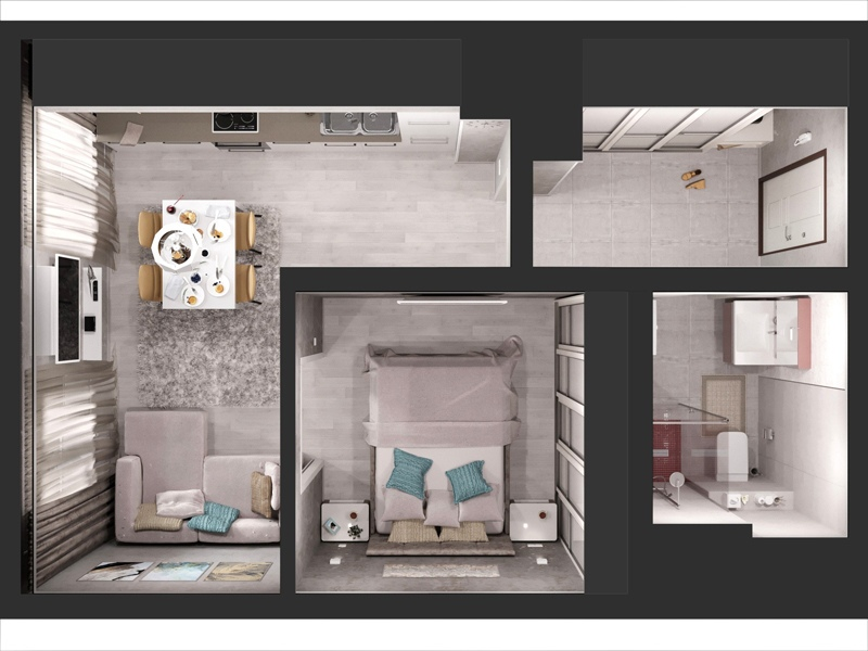 Проект квартиры с выделенной спальней.
