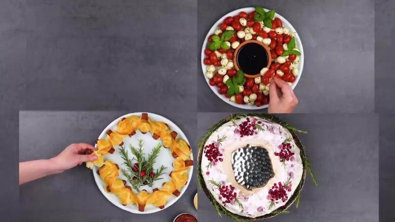 Съедобный венок- очень красивые идеи для праздничных закусок