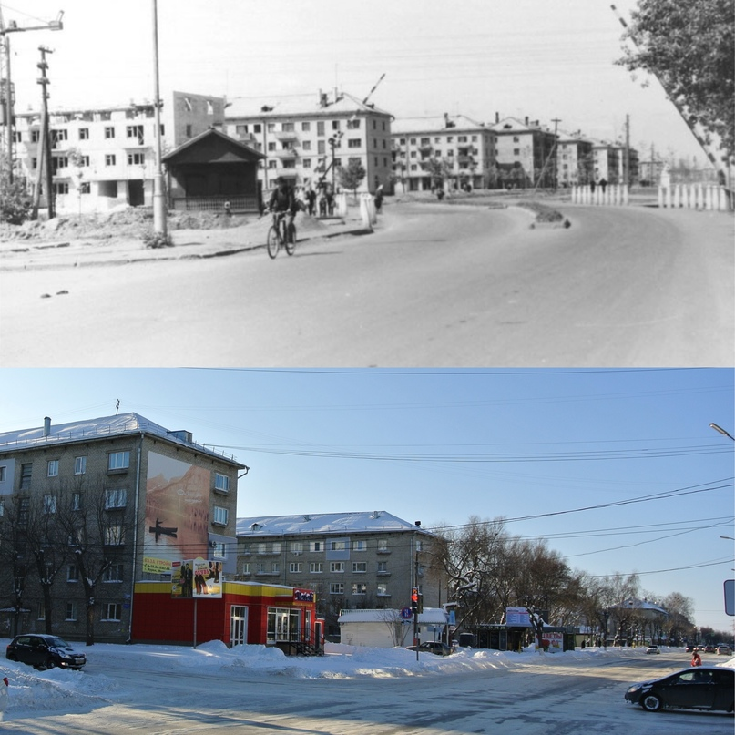 Улица Жданова 1965 г. / Улица Московская 2021 г. (Фото ДО Туляков Д.Д.)