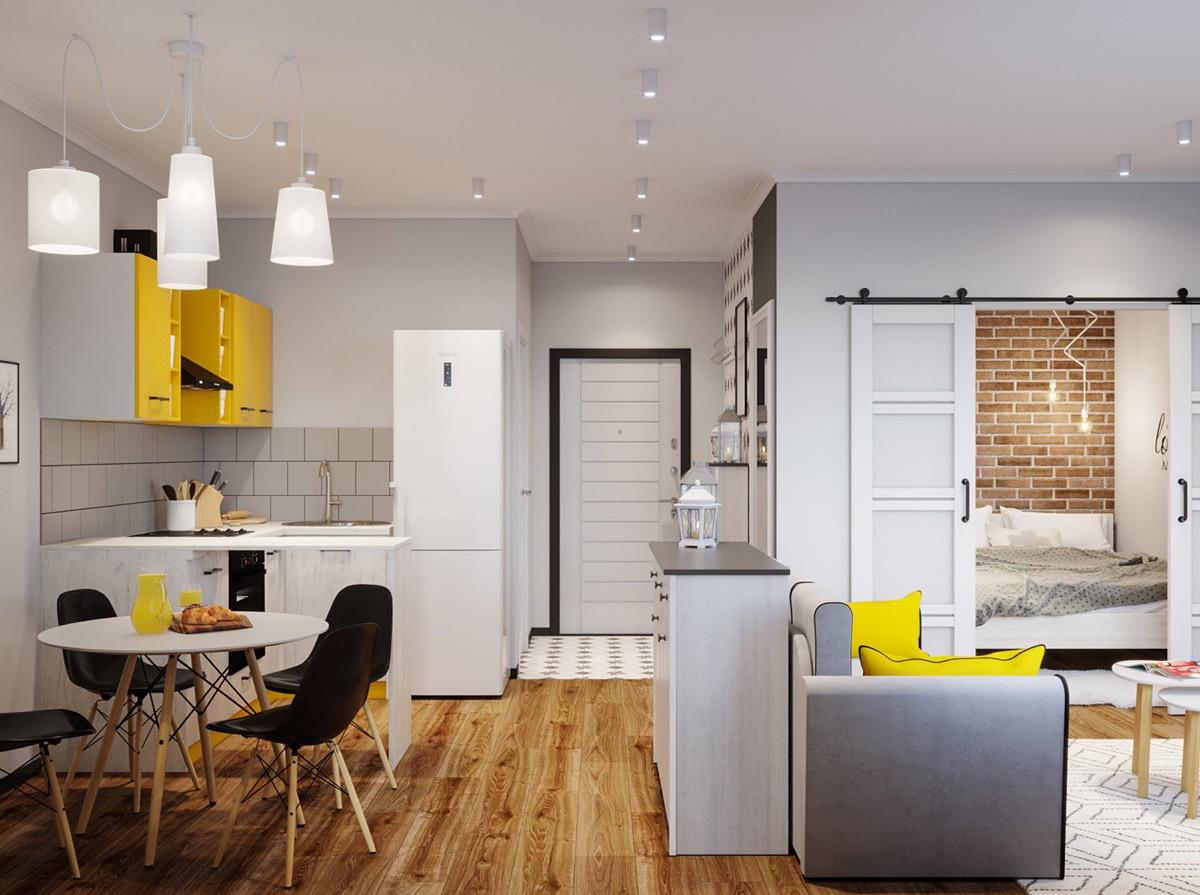 Проект квартиры-студии 40 кв.