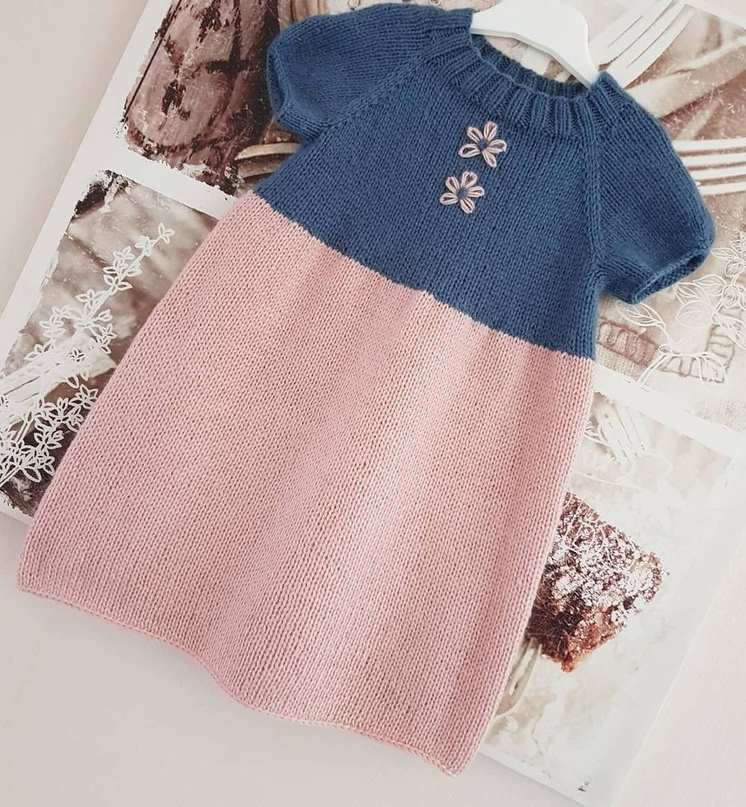 Платье розово-синее