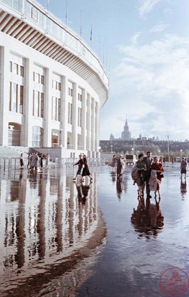 Стадион «Лужники» после дождя, фото Семена Фридлянда, 195...
