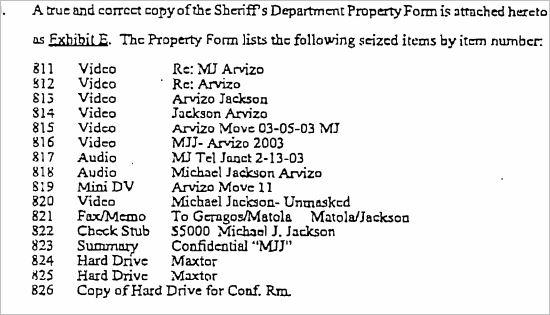 Список предметов, которые защита просила скрыть из-за незаконного получения их из офиса Брэда Миллера