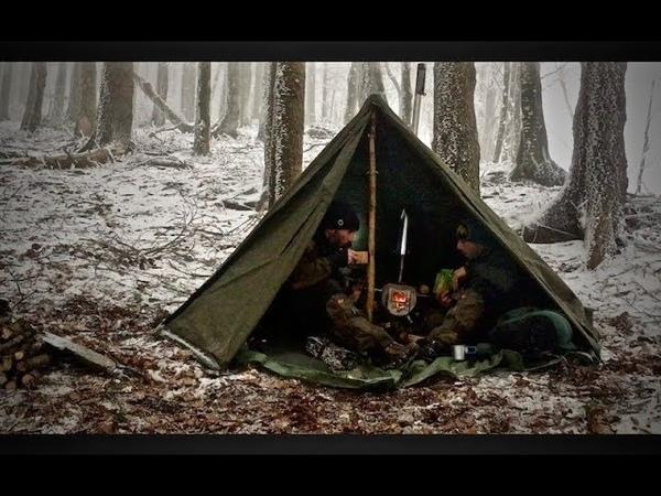 Pernotto bushcraft invernale con tenda e stufa - Overnight with tent and Gstove - ITA