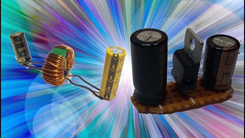 Как спаять простейший сетевой фильтр и преобразователь на крене 12V. в 5V. Самоделки.
