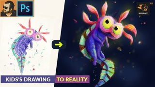 Recreating Kid's Drawing in to Reality | Speed Painting in Adobe Photoshop | EP 002