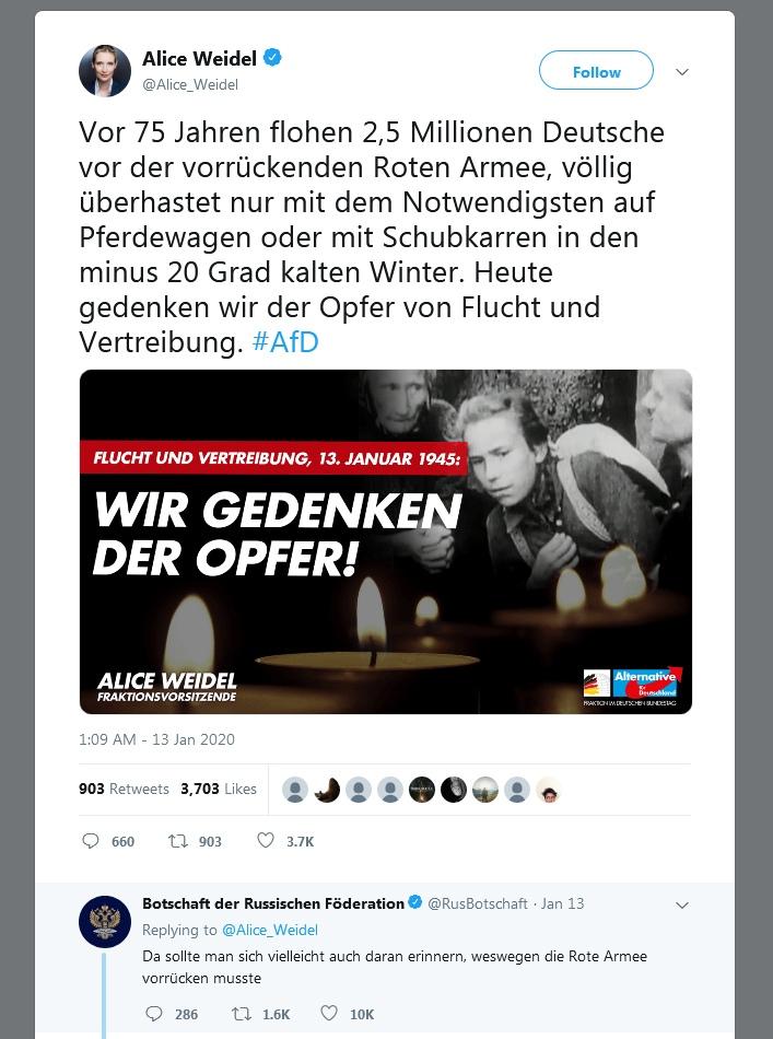 Твиттер-аккаунт посольства РФ в Германии жжет напалмом