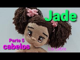 Jade- cabelos- Boneca Amigurumi Linda - parte 5
